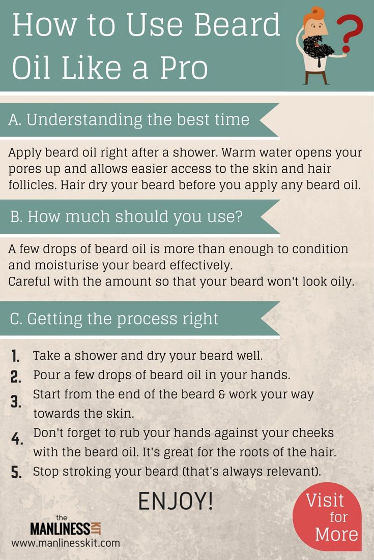Few things to know when applying beard oil. Apply right after a shower. Warm water opens your pores up & allows easier access to skin. Hair dry your beard before application. A few drops of beard oil is more than enough to condition your beard effectively.  Careful with the amount so that your beard won't look oily. Pour a few drops in your hands. Start from the end of the beard & work your way towards the skin. Also rub your hands against your cheeks. #beard #oil #beardoil #beards…