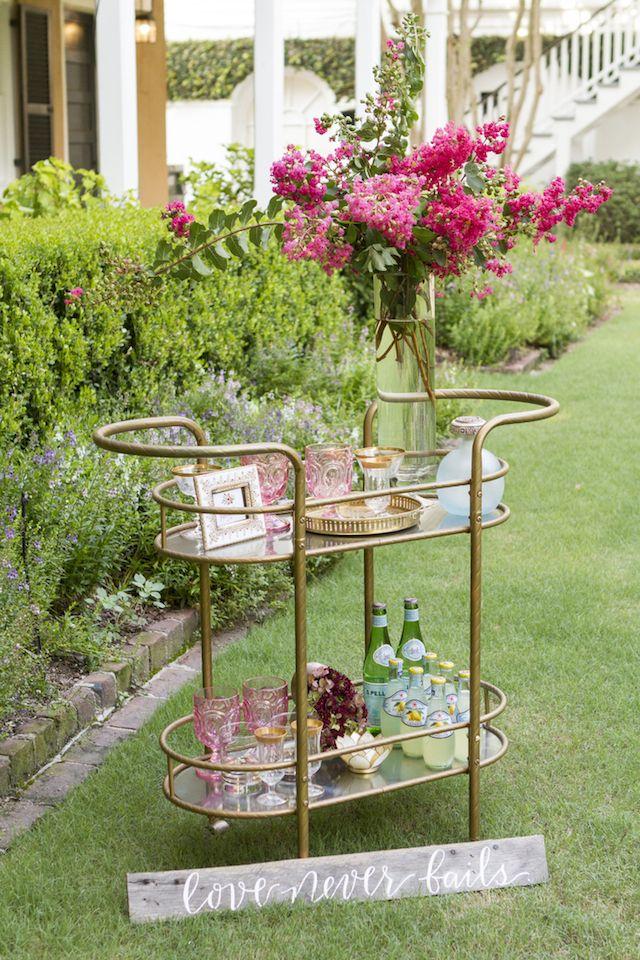 Chic Bar Cart For A Garden Glam Wedding