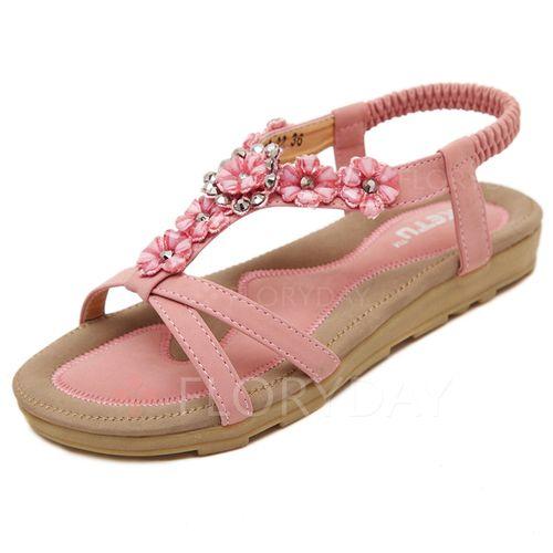 Zapatos - $32.32 - Zapatos Sandalias Planos Solo correa Tacón plano Cuero (1625105492)