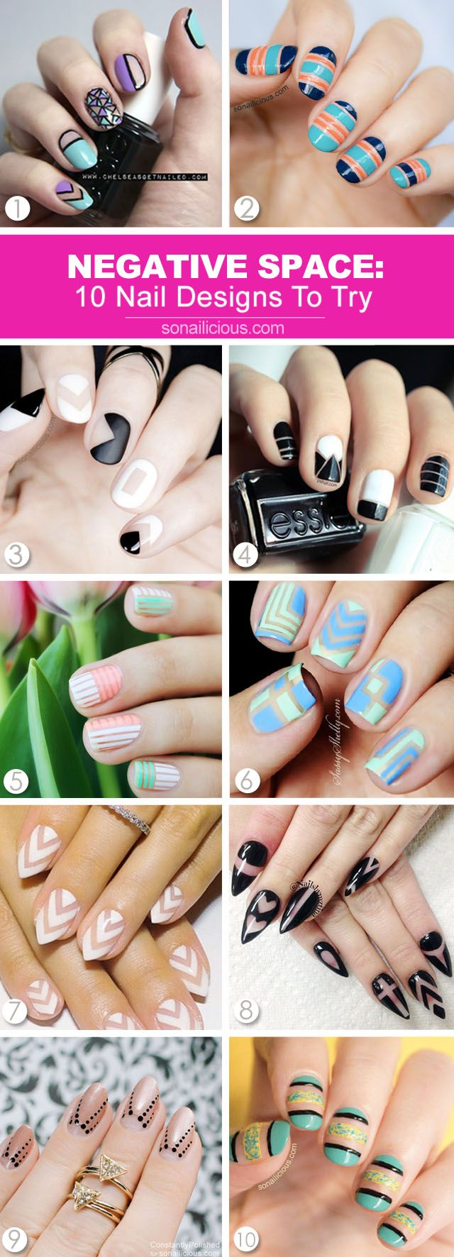 The best 10 negative space nails to try, with how-to s: http://sonailicious.com/10-best-negative-space-nail-designs/