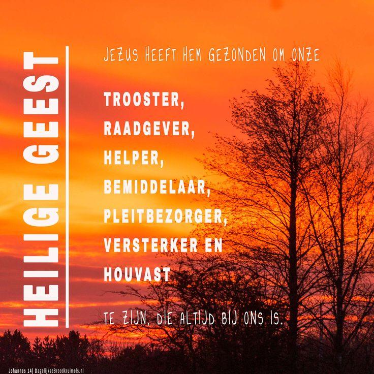 Heilige Geest. Jezus heeft Hem gezonden om onze, trooster, raadgever, helper, bemiddelaar, pleitbezorger, versterker en houvast te zijn die altijd …