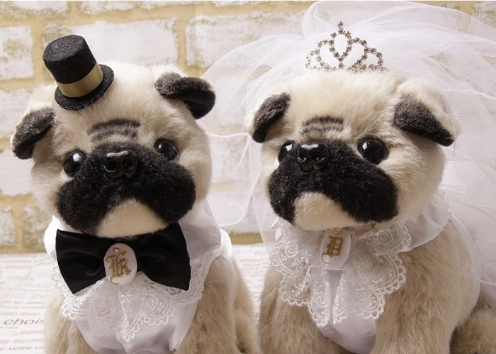 Order Embroidery Wedding Doll welcome pug dogs