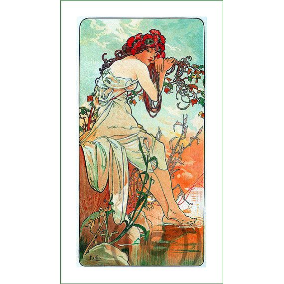 fabric panel - painting by Alphonse Mucha (27) - v.B