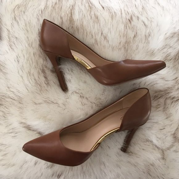 Neutral Pump Shoes have been worn once.  Beautiful brown color with gold detailing. Moschino Shoes Heels