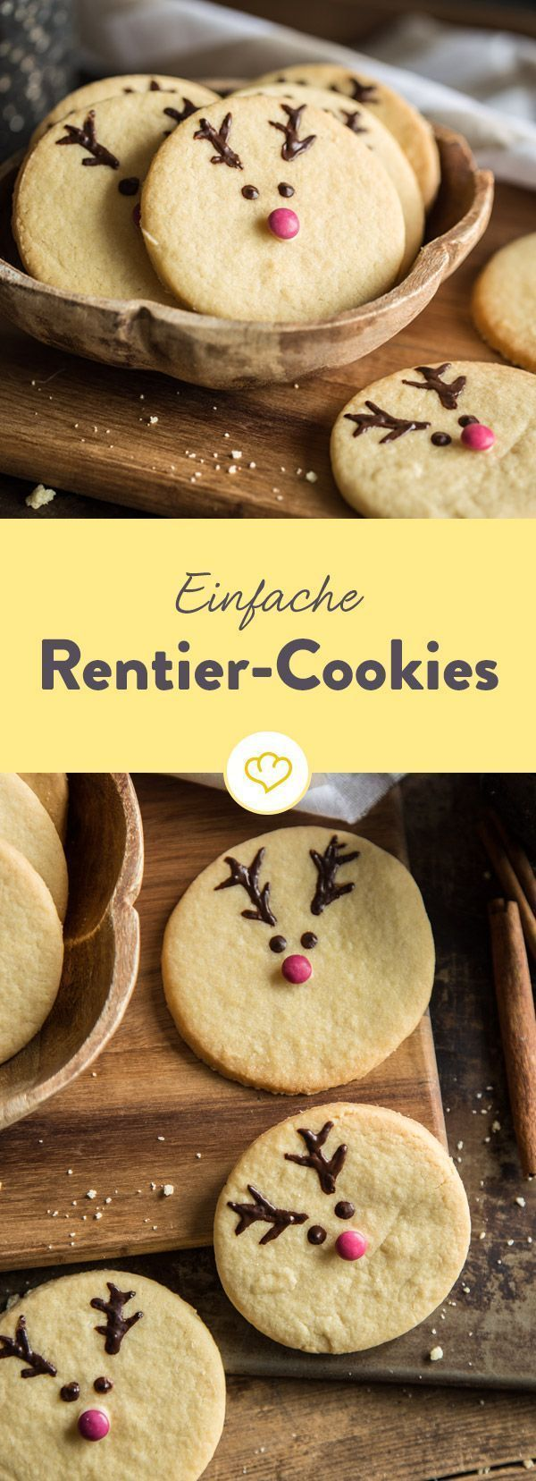 So schnell machst du gewöhnliche Kekse weihnachtstauglich und sorgst für viele strahlende Kinderaugen. Das Geweih aus Schokolade, ein Smartie als Nase.