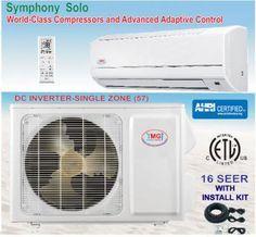 YMGI SEER 16 WMMS 09K V2A572 9000 Btu Ductless Split System Cool Heat Pump Air Conditioner System