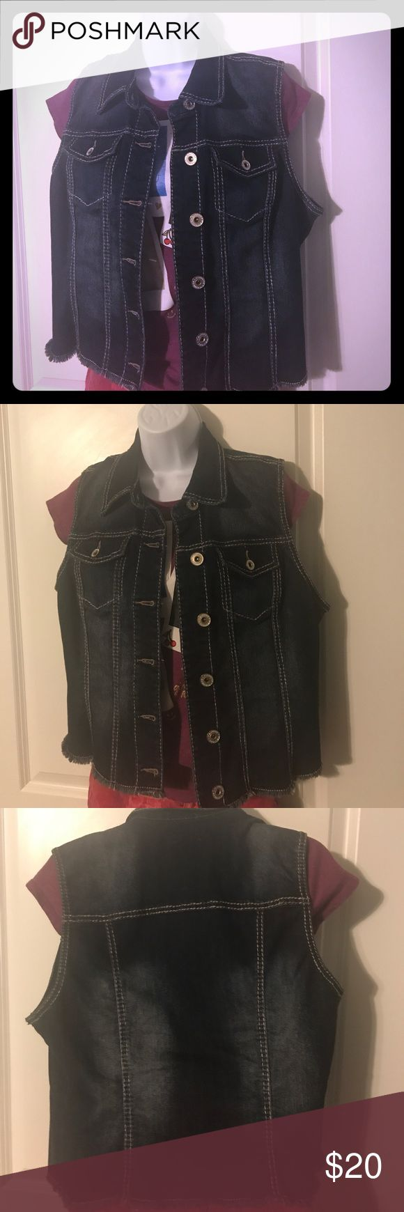 Maurice's fringe sleeveless jean jacket Super cute Maurice's sleeveless distressed jean jacket. This goes with anything! Maurices Jackets & Coats Jean Jackets