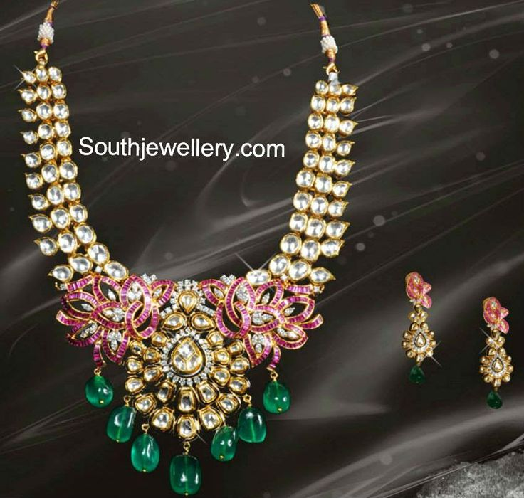 Latest Kundan Necklace Designs -2014 | Rich bridal Kundan necklace attached to an elaborate pendant studded with rubies, diamonds and emerald beads - Manepally Jewellers
