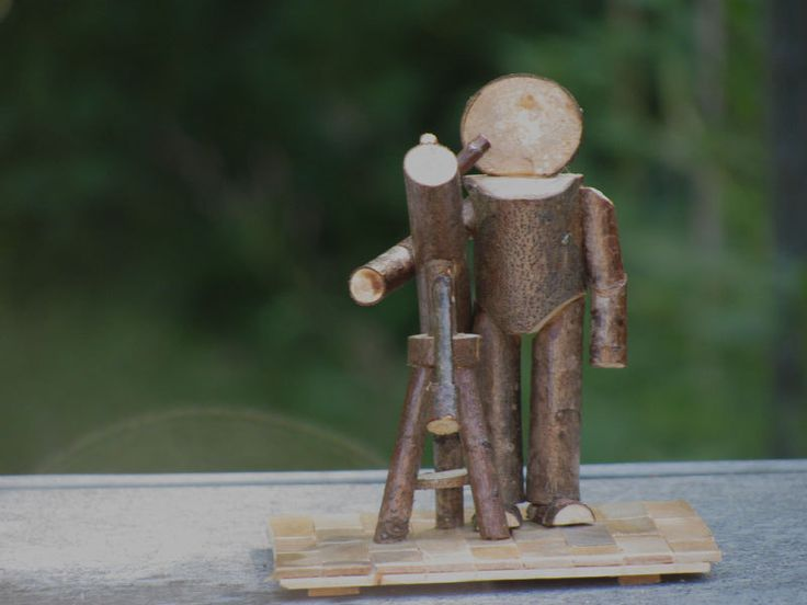 Rustic Primitive Stickman Astronomer with Reflector Telescope made of Sticks Wooden Outdoors Tripod Craft Hardwood Upcycled Unique Folk Art by BumpkinArt on Etsy