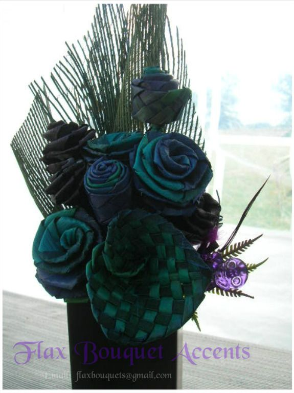 Flax Bouquet Accents - Turquoise & Purple Flax Flowers - woven roses & lilies