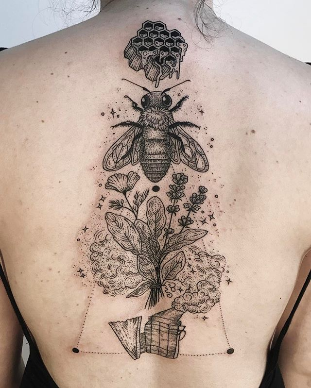 Honeybee with dripping honeycomb, apiary smoker and bundle of sage, lavender, and wild poppy!  Thanks Brianna!