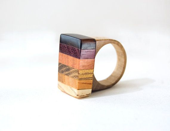 Wood Ring, Geometric Ring, Unisex Ring, Meisjes Houten Ring, Multicolor Ring, Holiday Gift, Natural Ring, Houten sieraden, Natuurlijk Sieraden