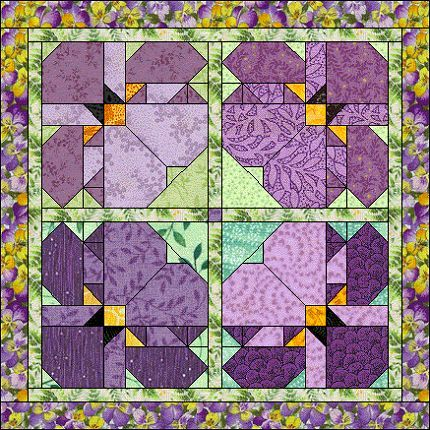 Block of the Month - May 2004  Interesting setting for the pansy block