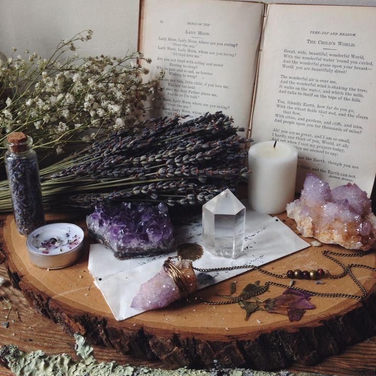 text + natural textures (lavender a very pleasing visual/has very pleasant sensory implications)