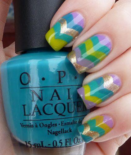 I love this new style of stripes.: Colorful Nail Art, Colors Nails Art, Makeup, Nails Ideas, Nails Polish, Nail Design, Easter Nails Art, Chevron Nails Art, Nails Designs