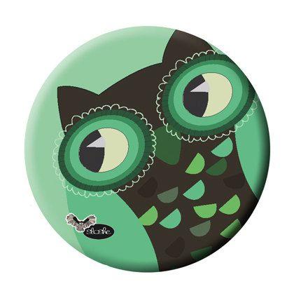 Large Magnet with Crazy GREEN OWL Illustration by Sloshe on Etsy, $3.00