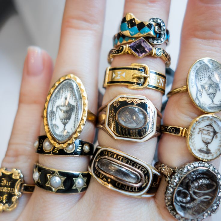I want them all!! Antique Mourning Rings from Erstwhile Jewelry in gold and black enamel