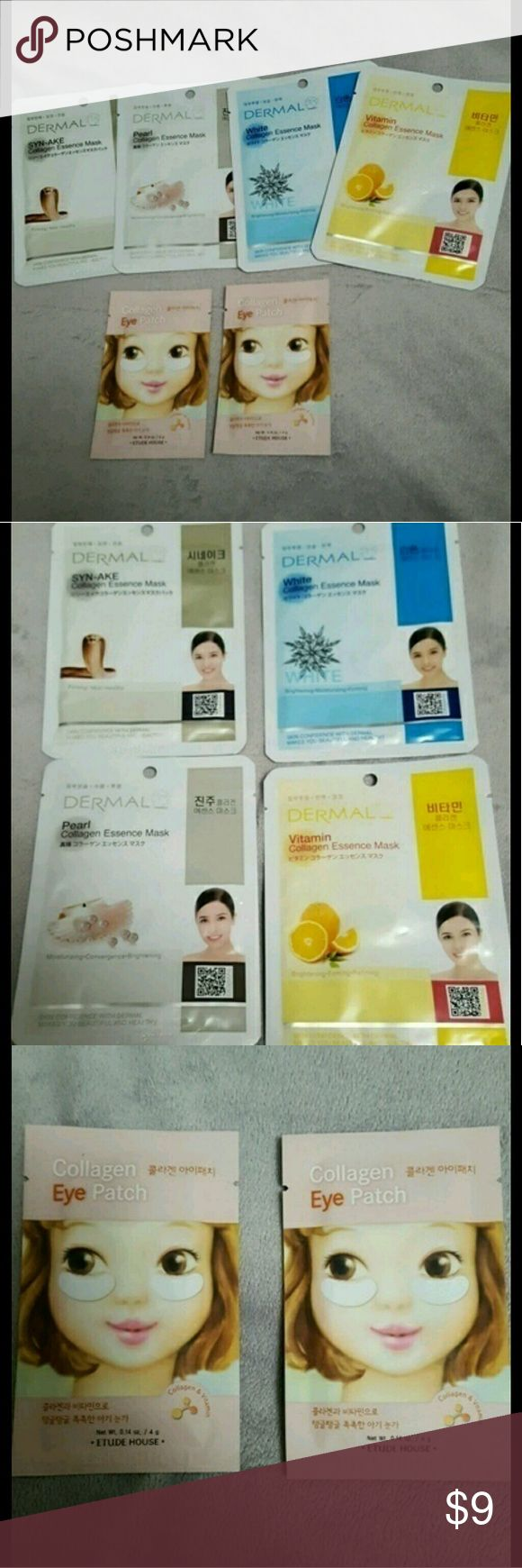 Korean sheet mask variety bundle! All sheet masks are new and ready to ship! Korean beauty products either have the manufacturing or expiration date stamped on the item. The Etude House eye patch exp 12/2017.The Dermal brand has the manufacturing date (02/2015) Expiration on this brand is 3 years from date, so you can use this until 02/2018  Bundle includes: ?2 Etude House Collagen Eye Patch ?1 Dermal Syn-ake Collagen x1 Dermal Vitamin Collagen  ?1 Dermal White Collagen ?1 Dermal Pearl…