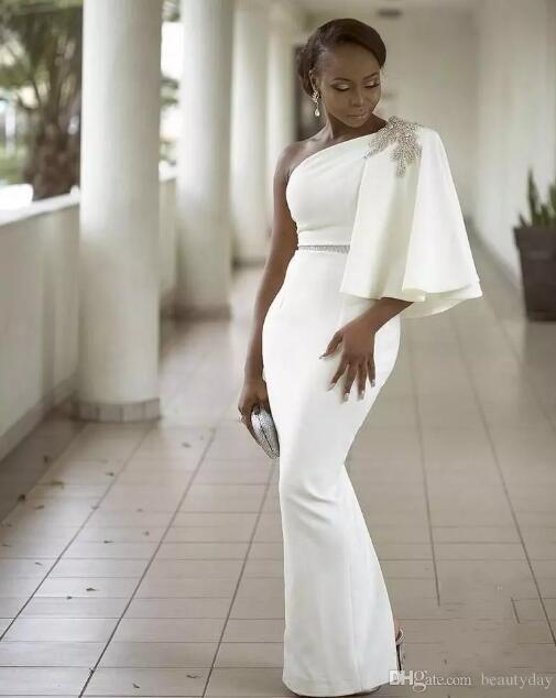 3f5d577c7d Bridesmaid Dresses Aso Ebi Black Girls Prom Dresses One Shoulder ...