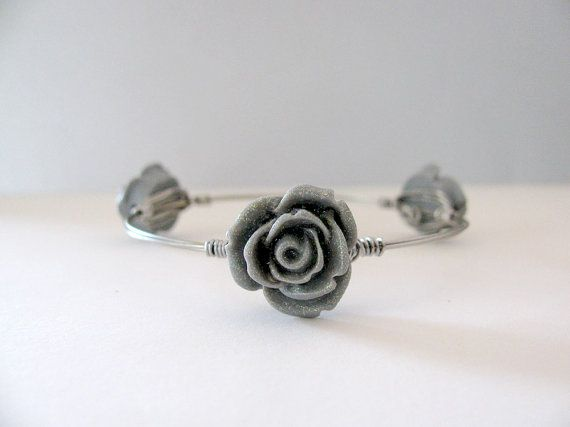 SALE-Free Shipping Grey Rose Bangle Wire Wrapped Bangle Bracelet Spring Bracelet Floral Jewelry Stacking Bracelet Gift for her by SecretStories
