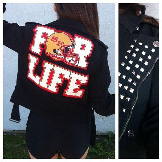 I made my own customized 49ers jacket.#DIY #Football