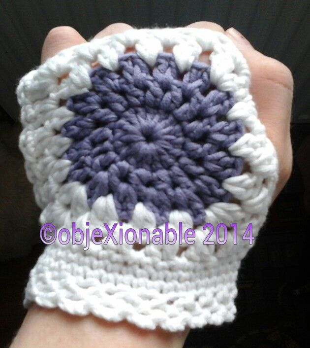 White and lilac granny circle/square crochet fingerless gloves/wristies