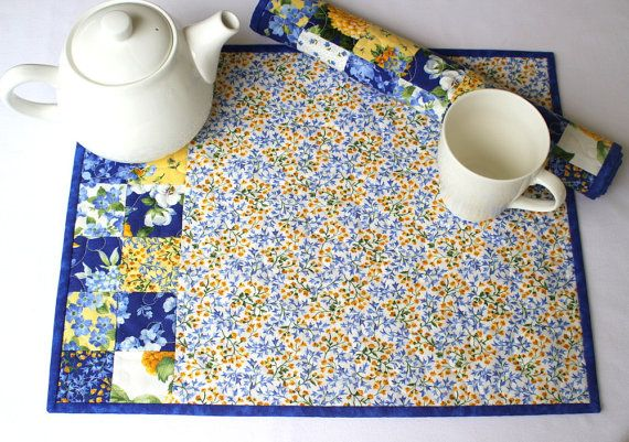 Quilted Placemats Blue Yellow Summer Table Mats by RedNeedleQuilts