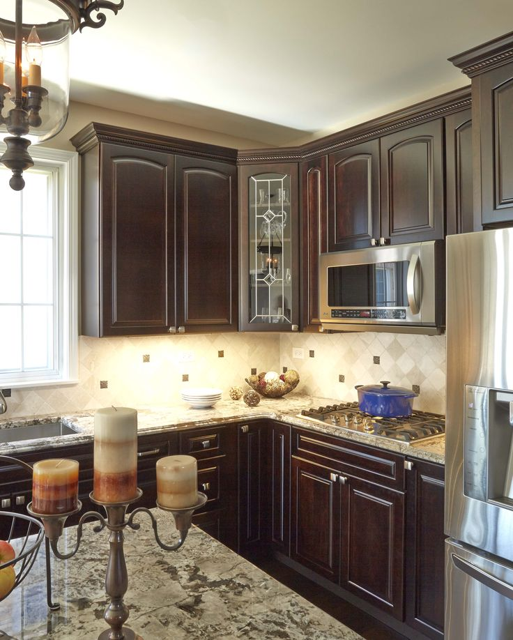 KraftMaid Cabinets in Cherry with a peppercorn finish  Bianco Anticos  Granite with waterfall edge. 18 best Bianco antico images on Pinterest   Kitchen ideas  Kitchen