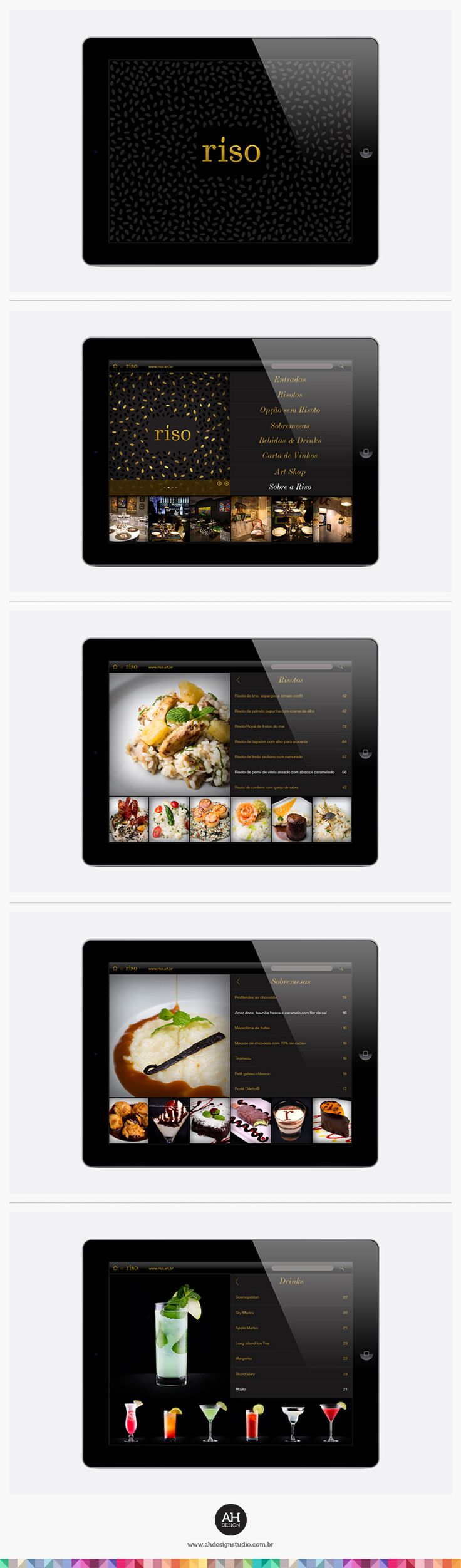 AHdesign Studio, Design de App para Riso Menu #design, #graphicdesign, #idvisual, #branding, #menudesign, #cardapio, #app, #aplicativo, #ipad, #applestore, #adesignstudio