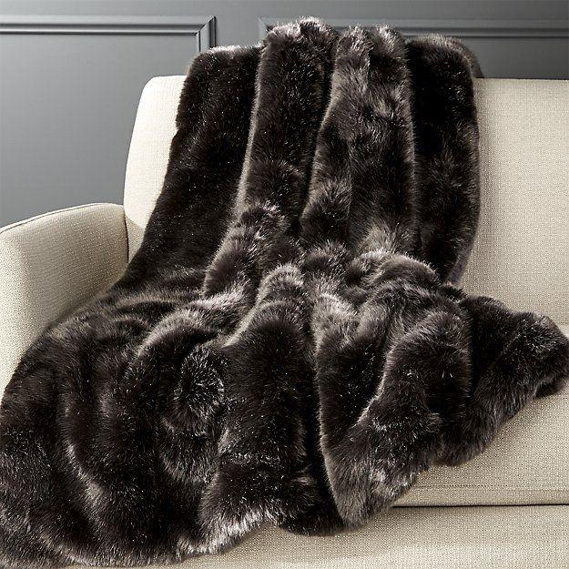 Premium Grey Faux Fur Throw   CB2