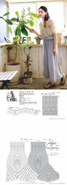 Японская кружевная накидка крючком. Кружевная накидка-шаль крючком из японского журнала   Домоводство для всей семьи.