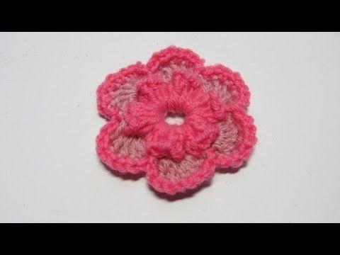 ▶ Tutorial. Flor de lana de dos colores en ganchillo. - YouTube