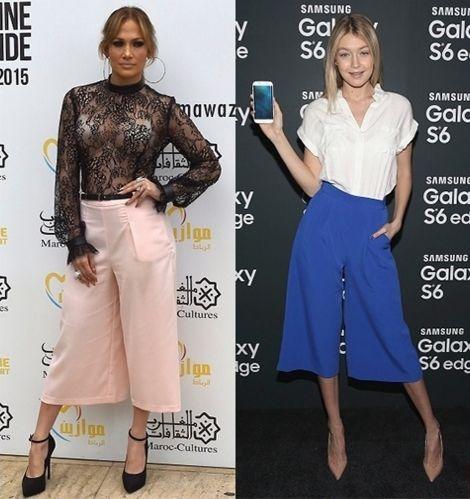 """A pantacourt, que é uma calça pantalona mais curta, é a peça do momento e uma das principais tendências para o verão. Por criar um corte brusco no meio da canela, ela pode acabar """"achatando"""" a silhueta. Jennifer Lopez e Gigi Hadid mostram como usar a peça em looks diferentes."""