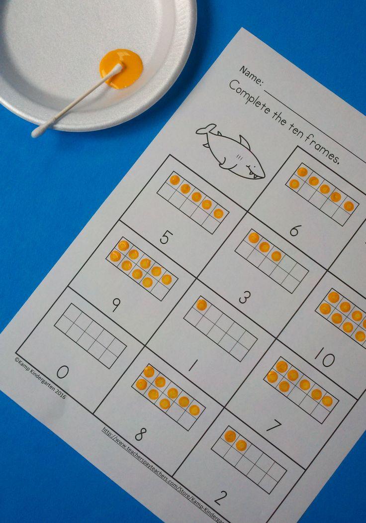 Engaging ten frames practice for your little learners!  $   #ocean  #finemotor  #tenframes  #sharks  #sharkweek  #kampkindergarten   https://www.teacherspayteachers.com/Product/Ocean-Animals-Ten-Frames-No-Prep-Printables-Quantities-to-20-2577113