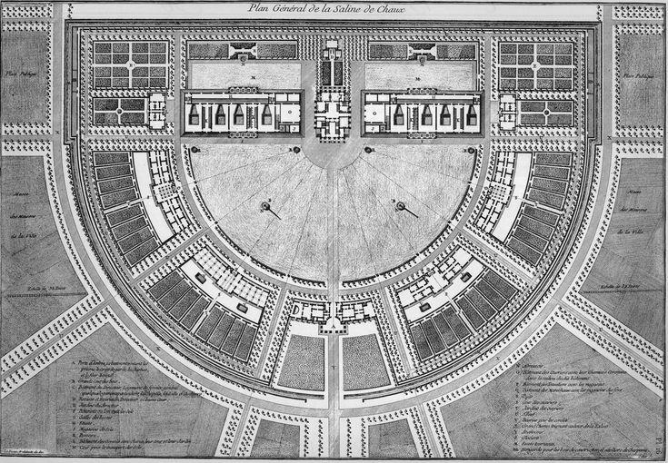 Plattegrond voor de Koninklijke Zoutstad in Arc-et-Senans, tweede versie ~ 1778-1804 ~ Gravure van François-Noël Sellier naar het ontwerp van Claude Nicolas Ledoux