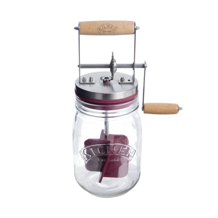 The Kilner butter churner offers the easy way to make homemade butter. Simply place whipping cream into the butter churner, turn the handle, and is as little as ten minutes you can enjoy fresh and del