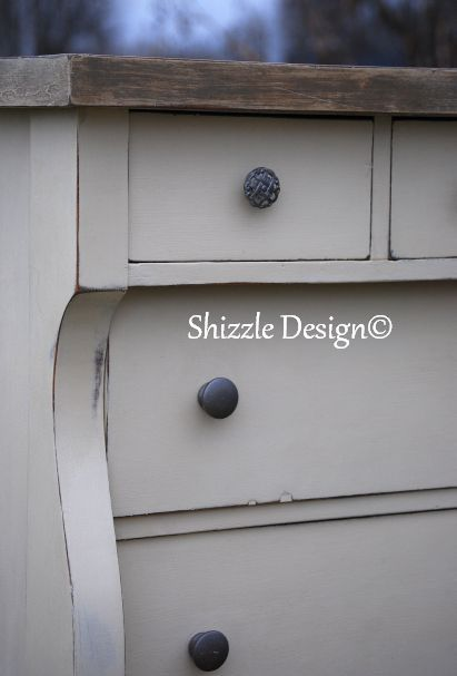 Antique Empire Chest of Drawers finished in Old White and French Linen Annie Sloan Chalk Paint