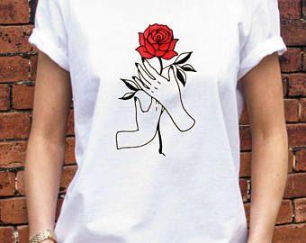 Rose Flower Hand Woman shirt