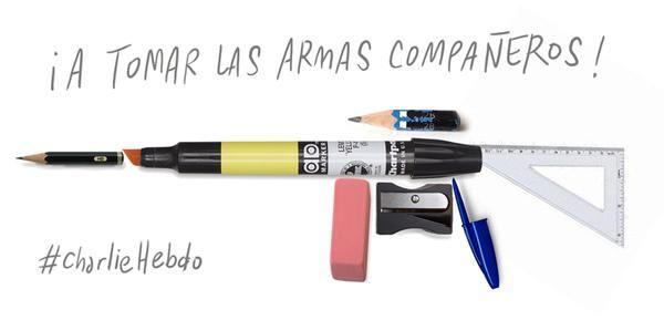 "Magnifique hommage. ""Prenons les armes compagnons""   #charliehebdo #jesuischarlie #cartoonist"