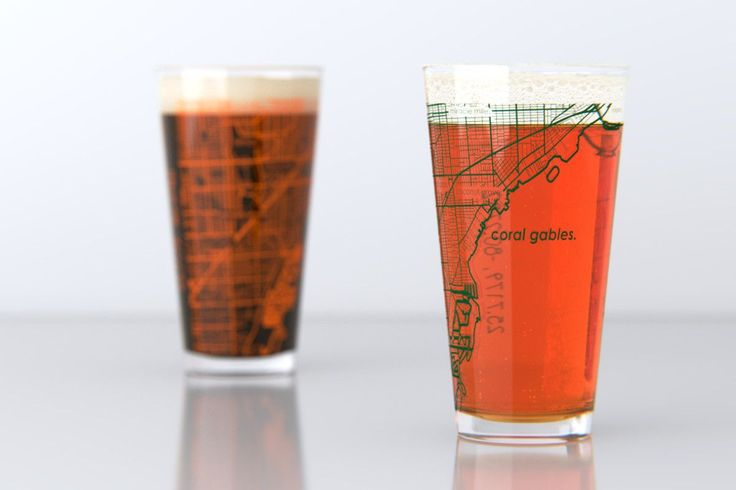 Coral Gables, FL - University of Miami - College Town Map Pint Glass S | theuncommongreen