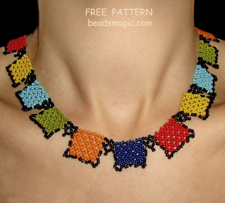 Free pattern for beaded necklace Squares U need: seed beads 11/0 Make colors of squares on