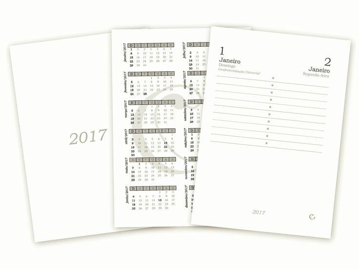 miolo de agenda 2017 - tamanho A5  ideal para encadernação artesanal   2 dias por página + calendário 2016, 2017 e 2018  primeiras semana...