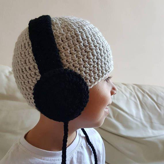 Bonnet casque musique au crochet  écouteurs DJ  enfant bébé