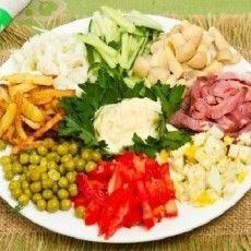 Салат с ветчиной и яйцами