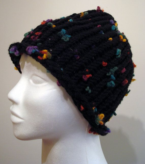 Handmade double-sided chunky black loom knitted hat with multicolored bits