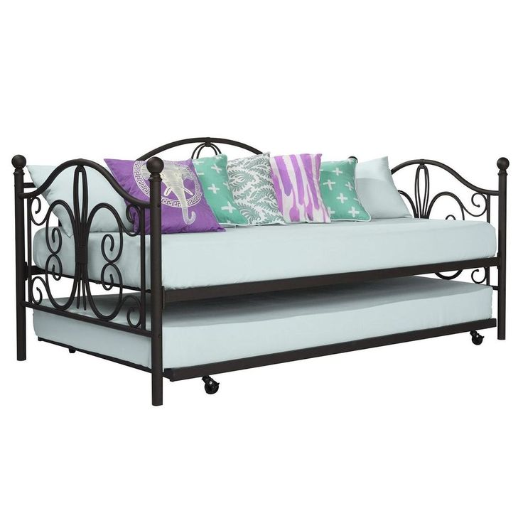 Best Bronze Iron Metal Daybed Frame With Trundle Twin Size Bed 640 x 480