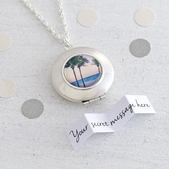 Paradise Locket - personalised locket featuring a miniature photography print of a sunset over the Caribbean ocean
