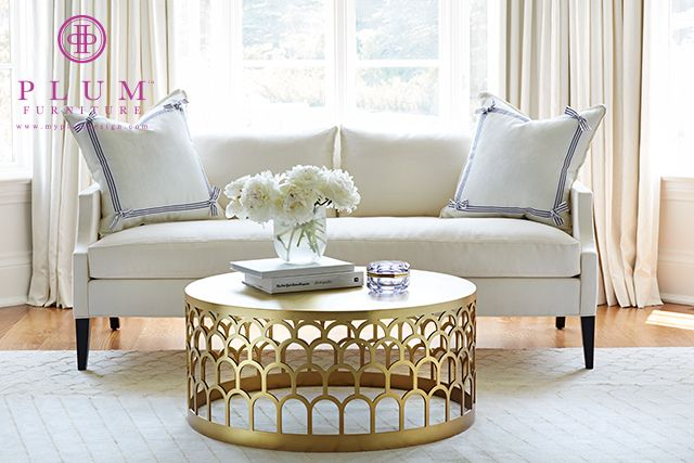 McGill Design Group - living rooms - The Hicks Table, The Whitney Sofa, The Tie One On Pillow, brass coffee table, antique brass coffee table