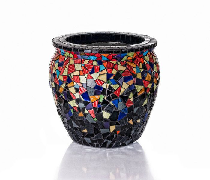 stained glass mosaic pots | Photo Keywords : mosaics : CRAZY QUILT POT The very first mosaic pot ...