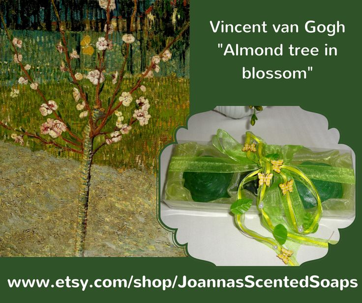 """Almond tree in blossom"", a painting by Vincent van Gogh (April 1888), now in the Van Gogh Museum, in Amsterdam. From this painting, and generally from Van Gogh's artwork, I was inspired this elegant Green Soap Gift Set with Fine Luxury Handmade Glycerin Soaps decorated by ribbon with yellow butterflies. A stylish gift for any occasion: any Celebration, any Ceremony, Anniversary, Feast, Birthday, Engagement, Party… you name it!"